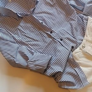 Tops - blue white striped top shirt work wear